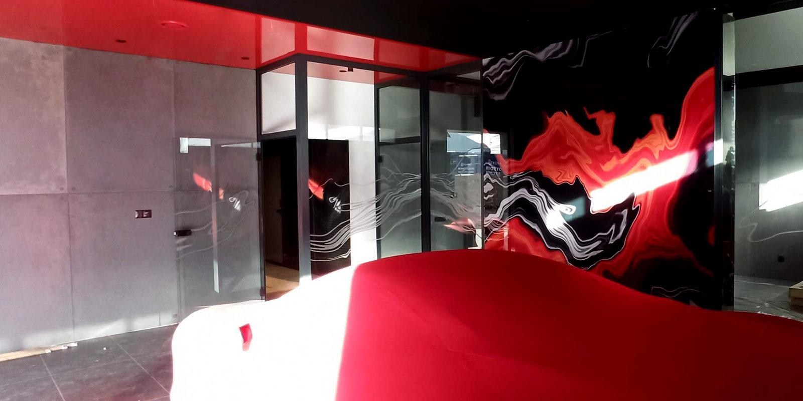 luxury garage red ceiling and ferrari