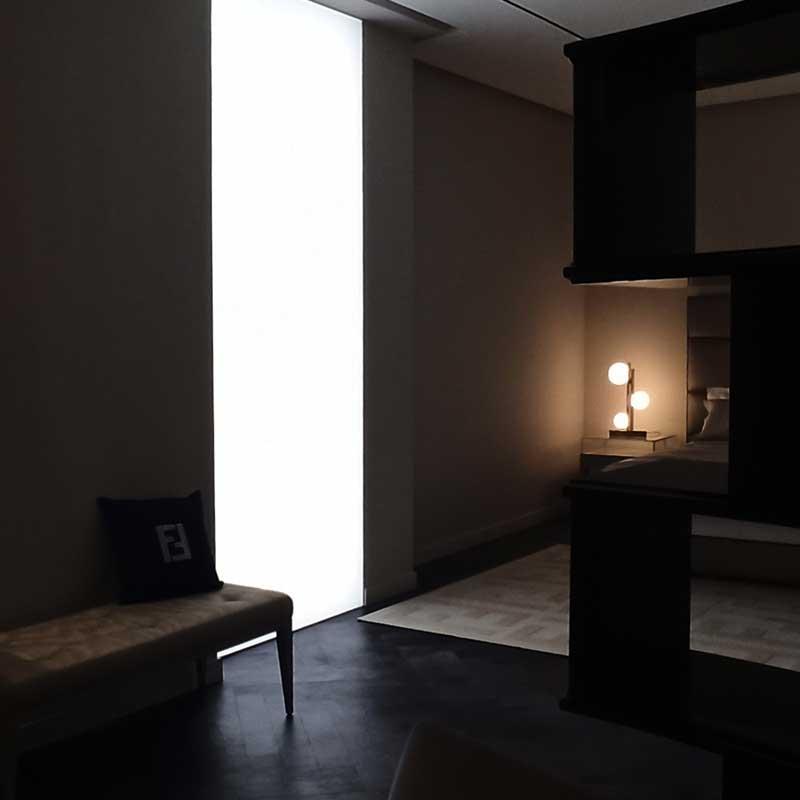 kaseton tekstyln jako podświetlane okno